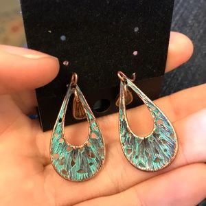Chico's Jewelry - Swirling Copper and Turq swirls teardrop Earrings